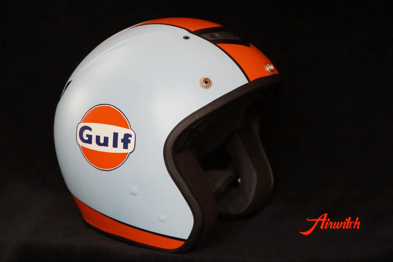 Custom Paint Helm mit Airbrush im Porsche Gulf Design in hellbau und orange