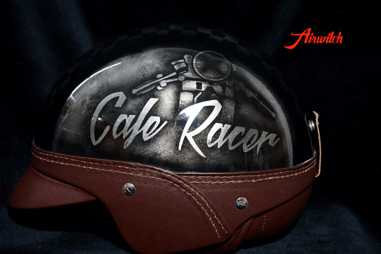Helm Custom Painting Cafe Racer in silber-schwarz
