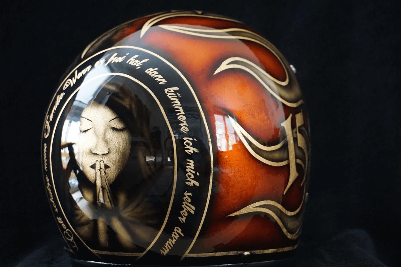 Custom Paint Helm mit Flammen, Blattgold, Airbrush und Candy