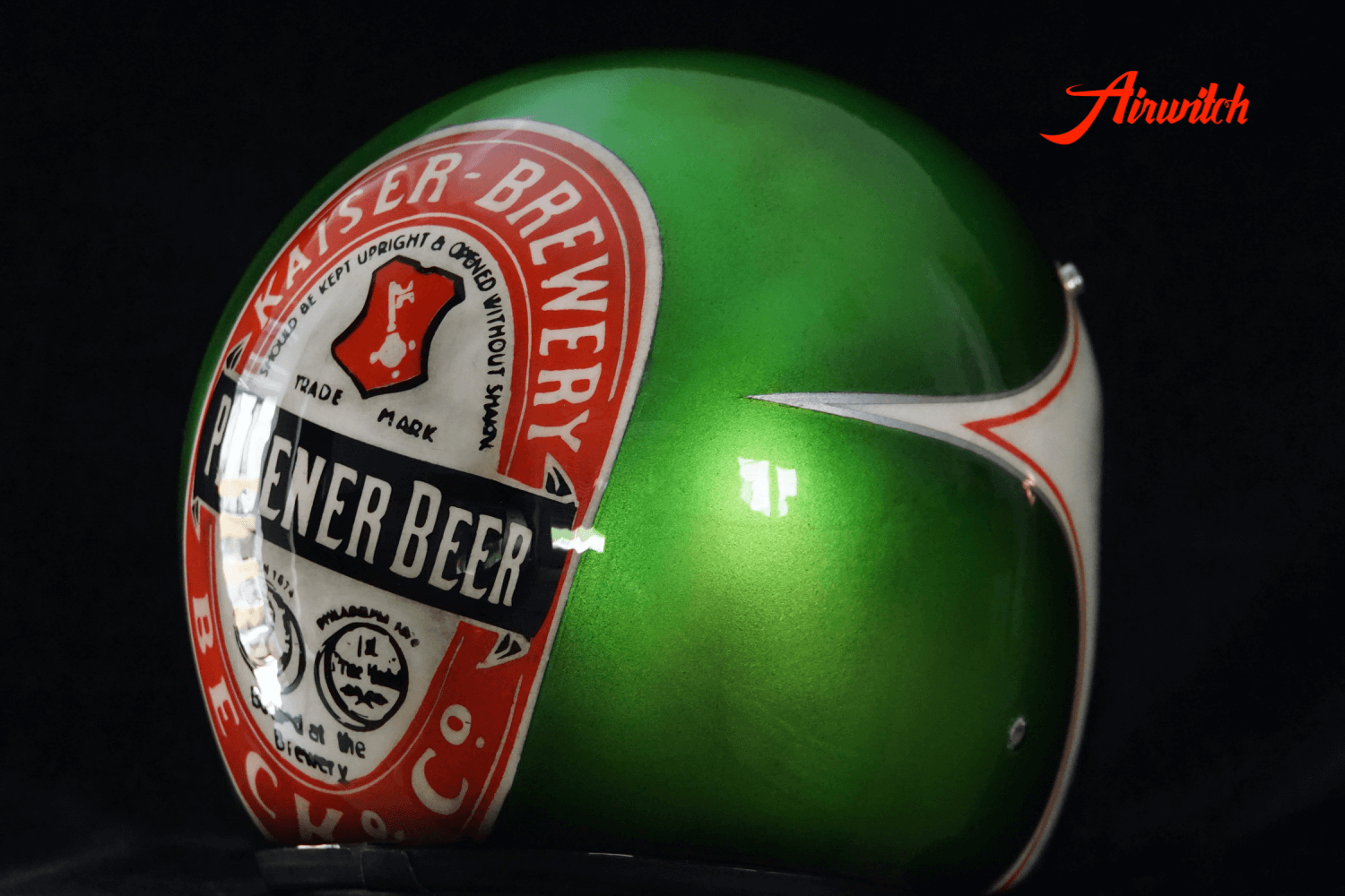 Used Look Custom Painting Helm Bierflasche und Etikett