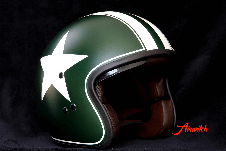 Custom Paint Helm dunkelgrün mit Airbrush, Stern, Streifen und Gentlemans Ride Logo