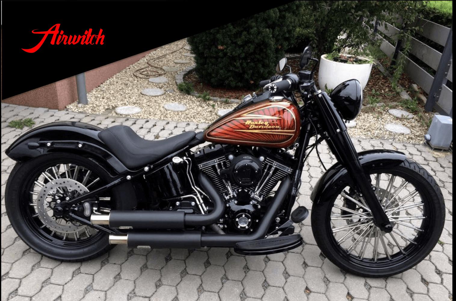 Custom Paint Metalflakes Tank Harley Davidson mit Blattgold und Candy braun