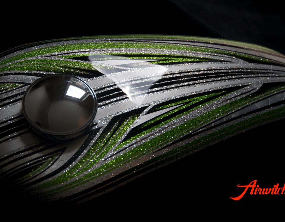 Harley Davidson Custom Paint Tank Sportster 48 Metalflakes Airbrush Green Candy