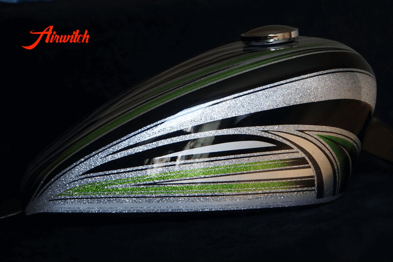 Harley Davidson Custom Paint Tank Scalops Metalflakes Airbrush Green Candy