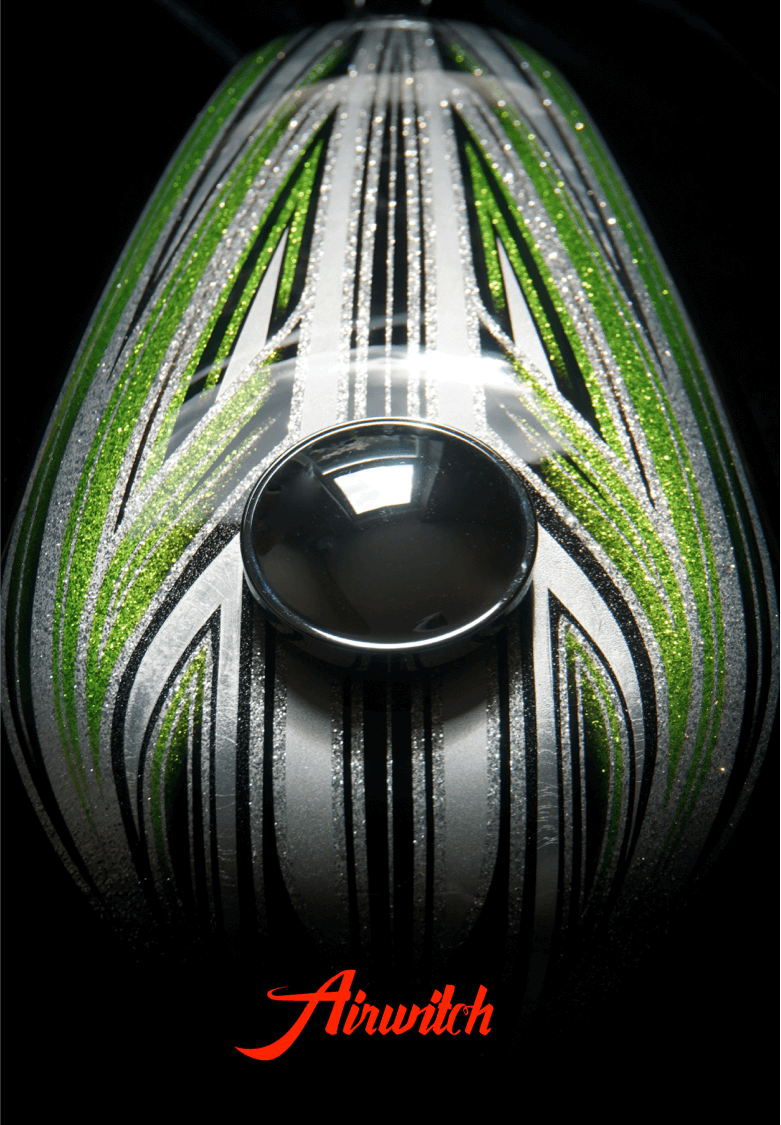 Harley Davidson Custom Paint Tank Scalops Metalflakes Airbrush Green