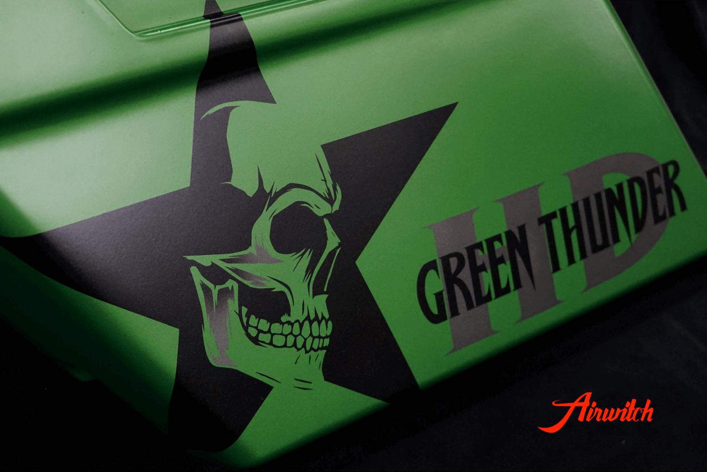 Harley Davidson Koffer für Touring in AMG Grün mit Totenkopf, Stern und Logoschriftzug
