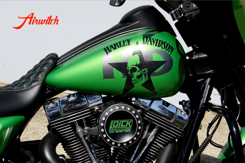 Harley Davidson Touring Koffer, Tank unf Fender Custom Paint in AMG Grün mit Totenkopf, Stern und Logoschriftzug