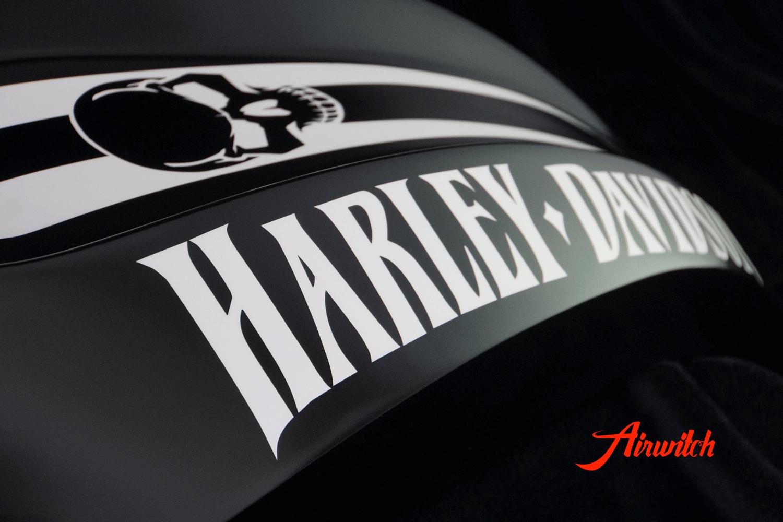 Custom Paint Harley Davidson V-Rod Heckfender und Tank in schwarz-weiß mit Totenkopf und mattem Klarlack