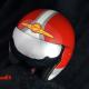Custom Paint Retro Helm Indian Morocycle mit Streifen in rot und pastellgrün mit Shell Logo in Airbrush