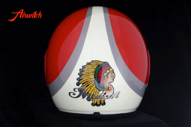 Custom Paint Retrohelm INDIAN Motorcycle mit Streifen und Indianer in rot und pastellgrün mit Shell Logo als Airbrush