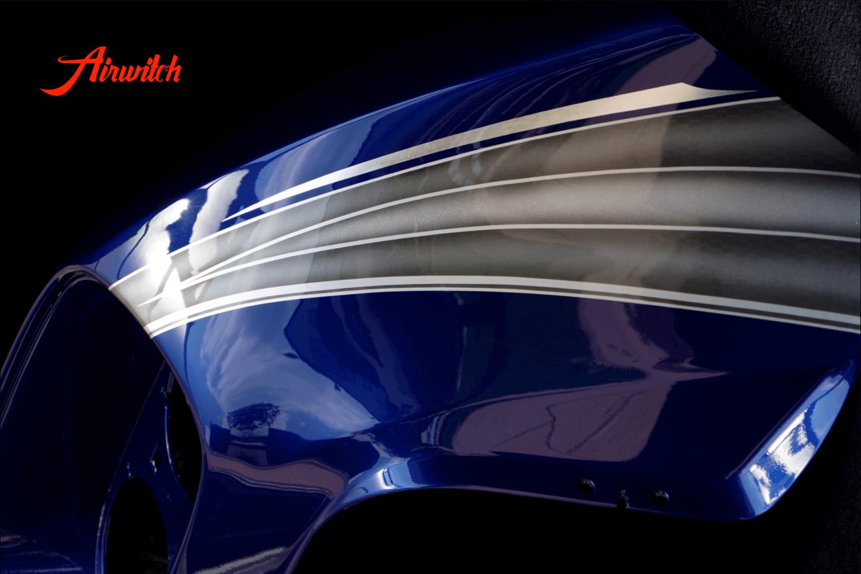 Harley Davidson Road Glide Custom Paint mit silber-blauer Custom Lackierung mit Silber, Metalflakes und Blattsilber