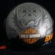 Custom Paint Hamburg Helm Lackierung mit Airbrush Adler, Skyline und Schriftzug in schwarz, silber und orange
