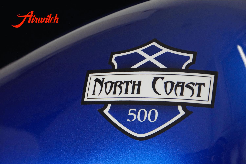 Custom Paint Harley Davidson Sportster Tank Metallic blau Scotland mit Airbrush Route North Coast 500