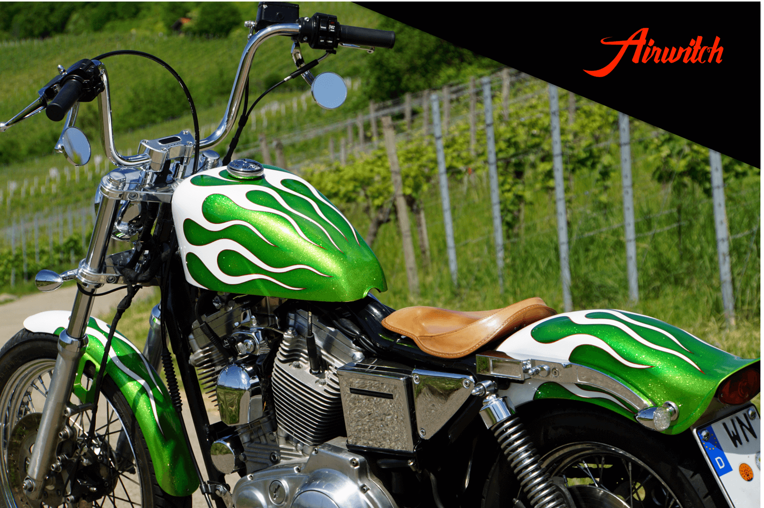 Custom Paint Green Metalflakes white Flames Harley Davidson old crazy Sportster Tank, Fender