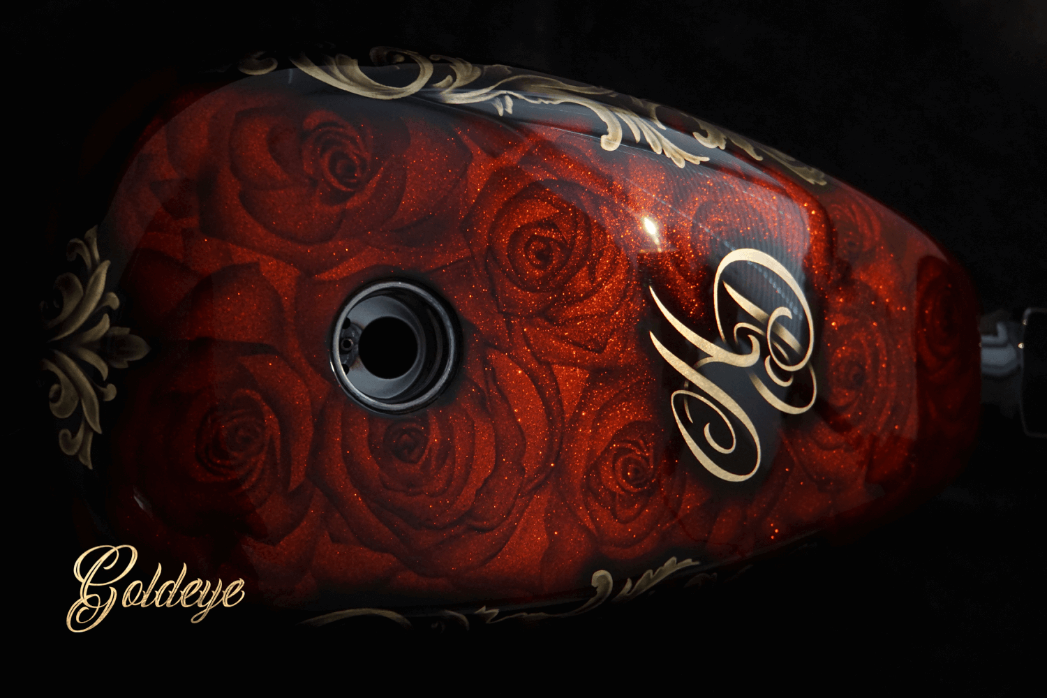 Custom Paint Harley Davidson Sportster 48 Rosen Airbrush, Gold, Metalflakes Rot-Orange von Goldeye