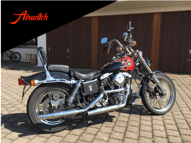 Custom Paint Red AMF Flames Harley Davidson Wide Glide FXWG 1980 Originaltank Nachlackierung