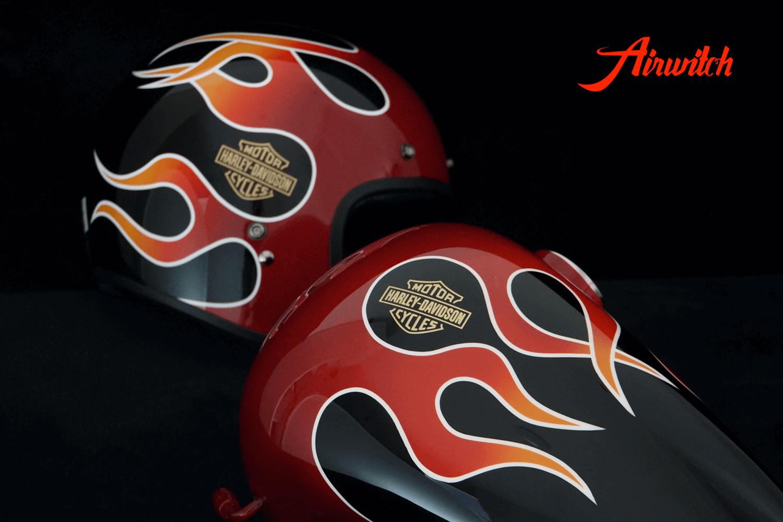 Custom Paint Red AMF Flames Harley Davidson Wide Glide FXWG 1980 Original Nachlackierung