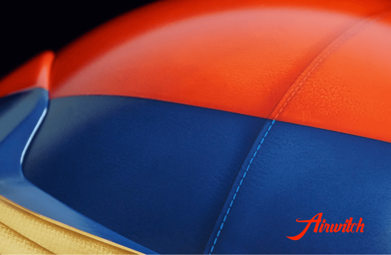 Custom paint old leather racing rallye helmet Mille Miglia Airbrush Lackierung in blau, rot und braun