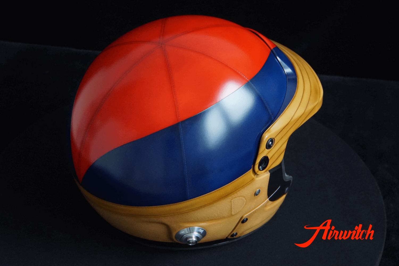 "Custom paint old leather racing rallye helmet Airbrush Lackierung in blau, rot und braun ""1000 Miglia"" Airwitch"