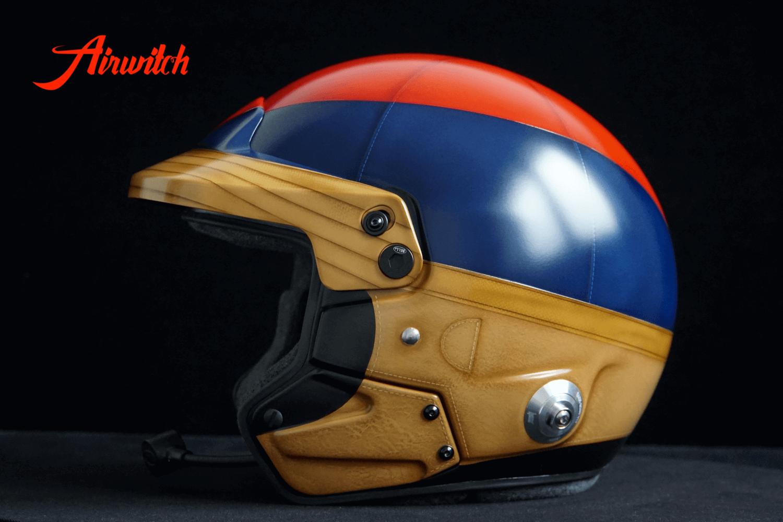 "Custom paint old leather racing rallye helmet Mille Miglia Airbrush Lackierung in blau, rot und braun ""1000 Miglia"" Airwitch"