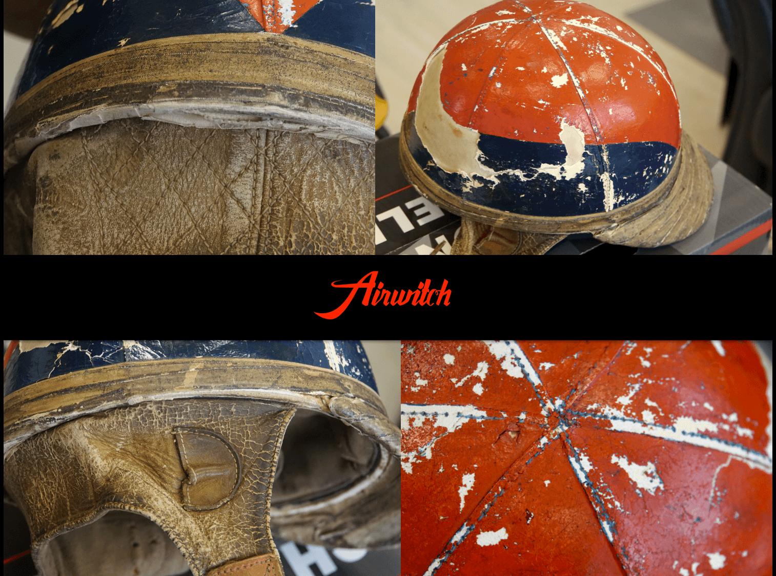 Original old leather racing leather helmet rallye mille miglia retro design