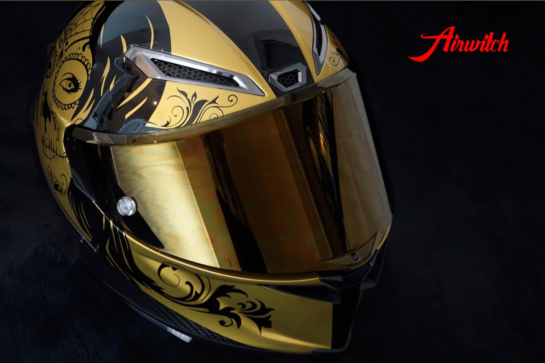Helm AGV Pista GP Woman Custom Paint in schwarz gold mit la catrina und Airbrush Ornamenten für Aprilla RSV4