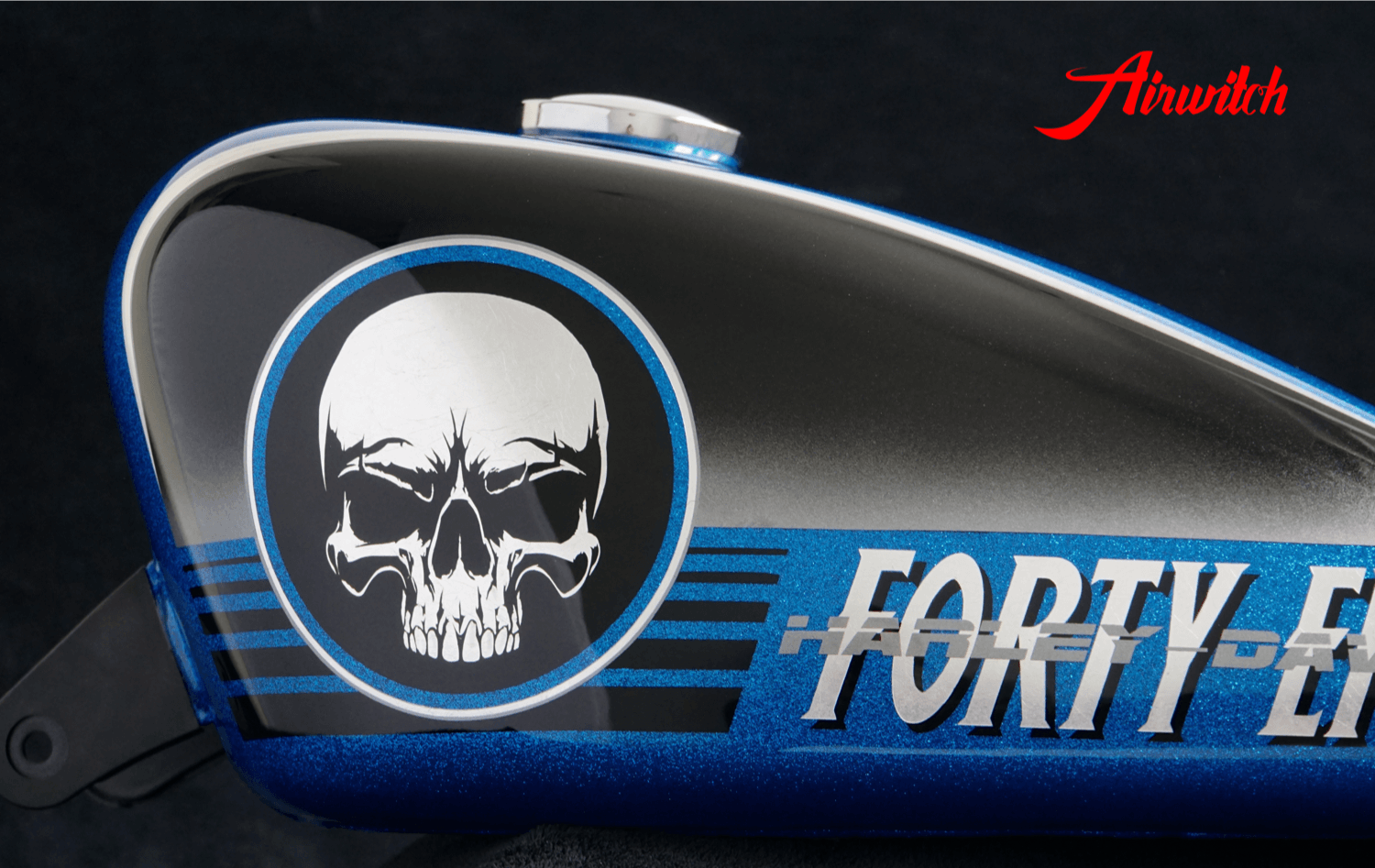Custom Paint Harley Davidson Forty Eight 48 blue metalflakes & airbrush skull, black, silver leaf
