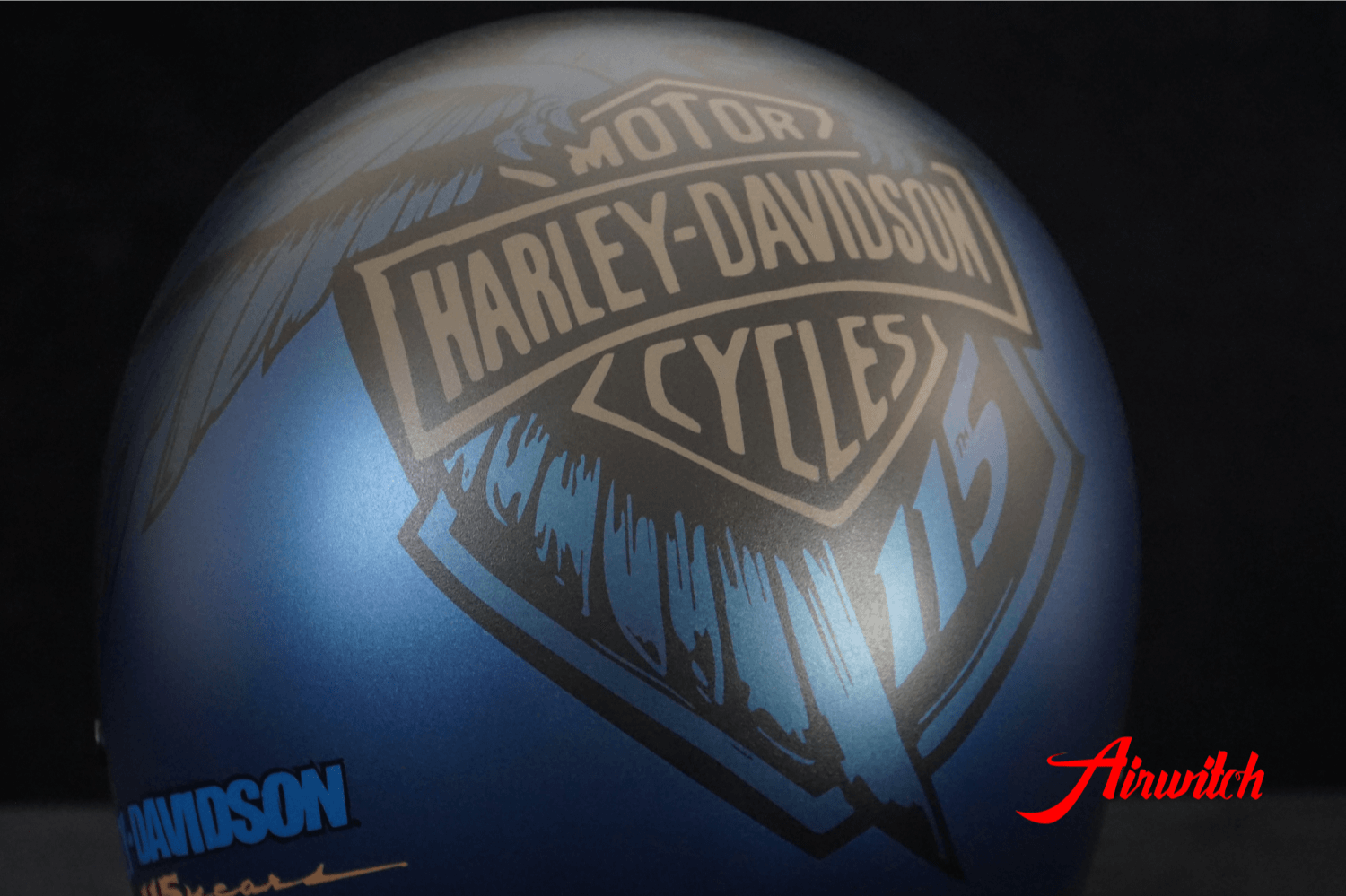 Custom Paint Helm eagle 115 anniversary Harley Davidson blue - Nachlackierung