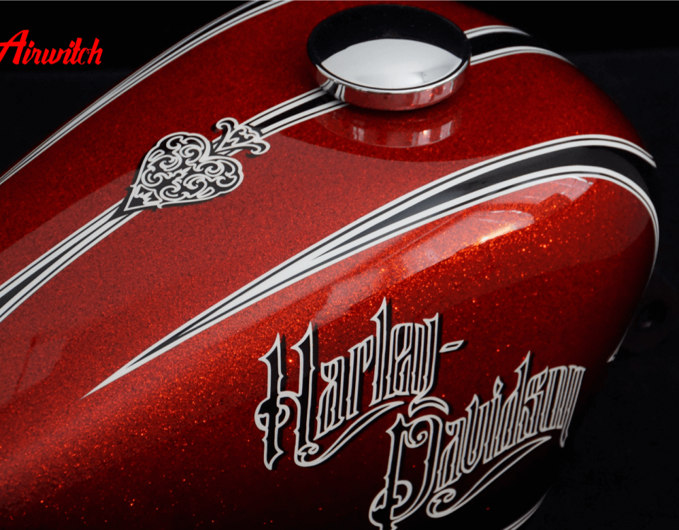 "Custom Paint Harley Davidson Lackierung Sportster Red Chopper roter Metalkflakes Tank ""Oldschool Look"""