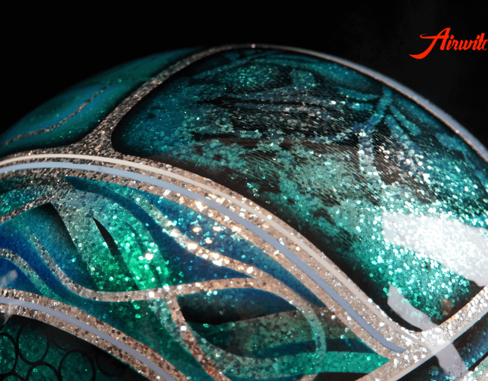 Custom Paint Helm Metalflakes und Oldschool Airbrush in türkis und blau