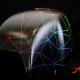 """Custom Paint BMW Cafe Racer Tank Lackierung als """"Two Face"""" in schwarz mit bunten graphischen Mustern als Polygon"""