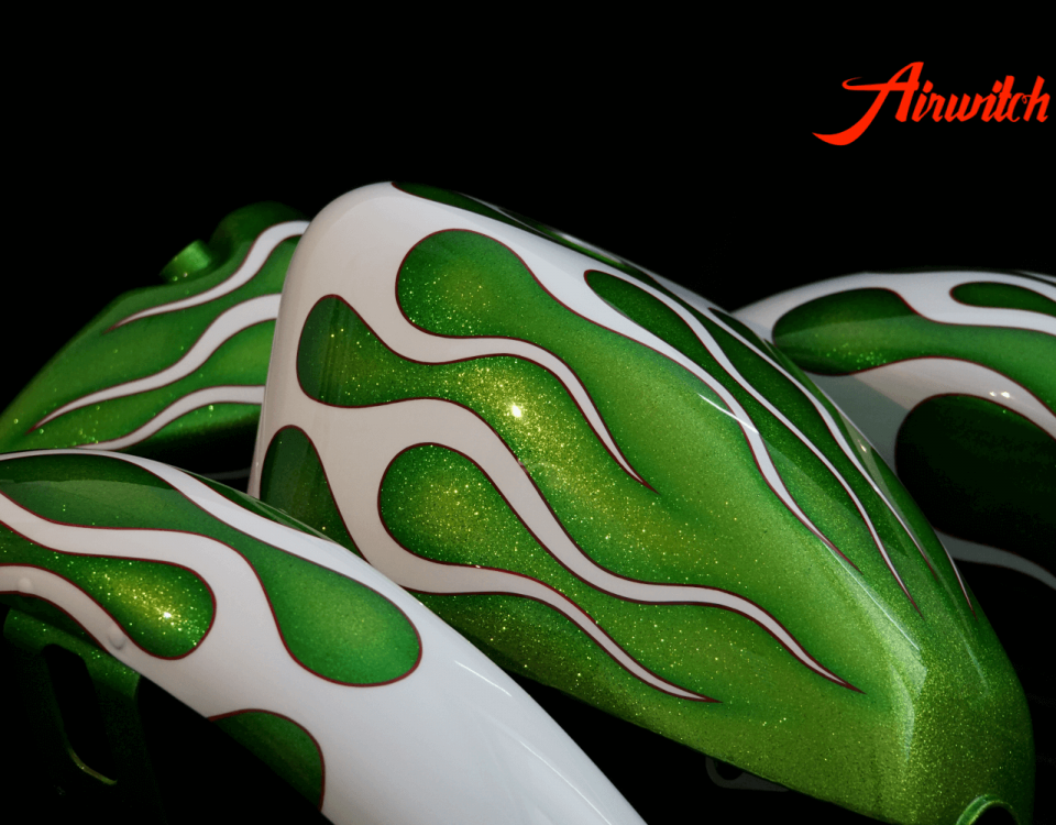 Custom Paint Green Metalflakes white Flames Harley Davidson Sportster Tank, Fender