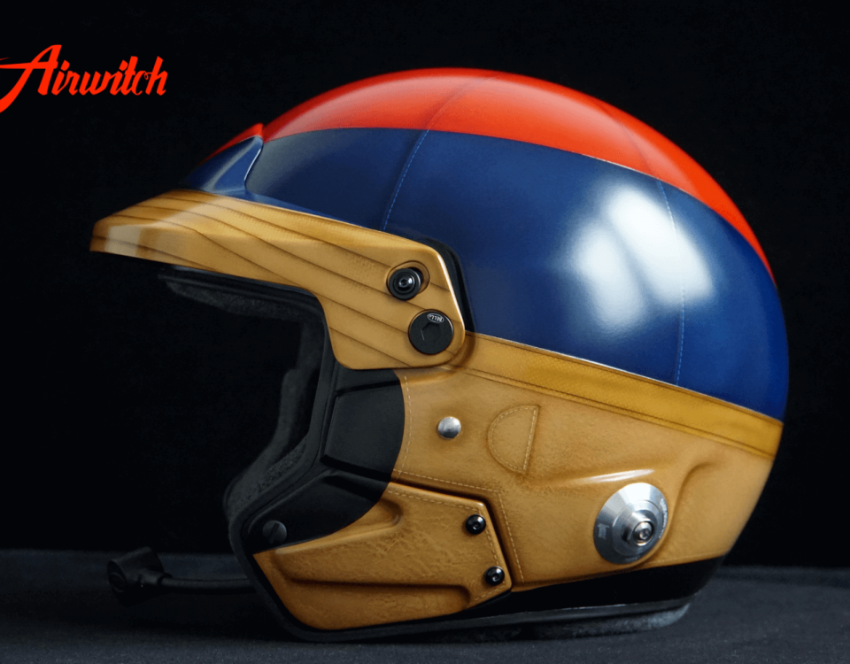 "Custom paint old leather racing rallye helmet Airbrush Lackierung in blau, rot und braun ""1000 Miglia"" Airwitch"
