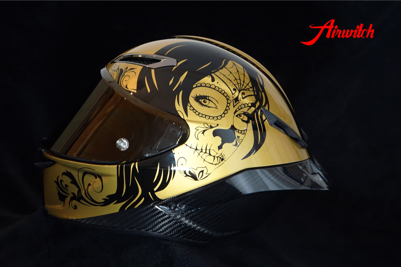 Custom Paint Helm Ducati Panigale V4 Carbon Lackierung Gold & Black La catrina