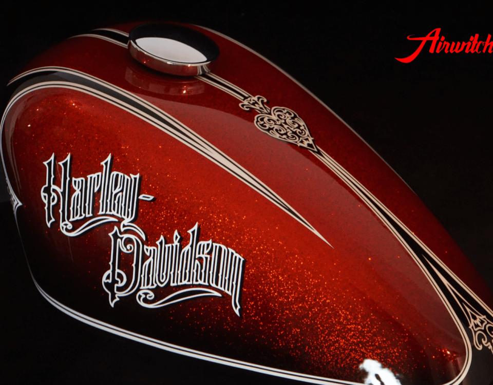 """Custom Paint Harley Davidson Lackierung Sportster Red Chopper roter Metalkflakes Tank """"Oldschool Look"""""""