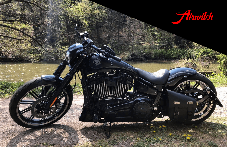 Custom Paint Harley Davidson Breakout Strech Tank Umbau Lackierung Black Klarlack matt glossy clearcoat Logo Schriftzug Totenkopf