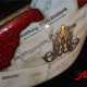 Custom Paint Harley Davidson Sportster Forty Eight red Metalflake Lackierung Airbrush guitar notes and old paper with goldleaf silver leaf