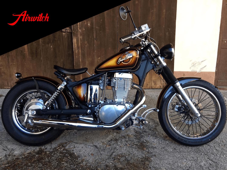 Custom Paint Chopper Umbau Suzuki Savage Fender Tank Metalflake Lackierung Candy gold brown oldschool