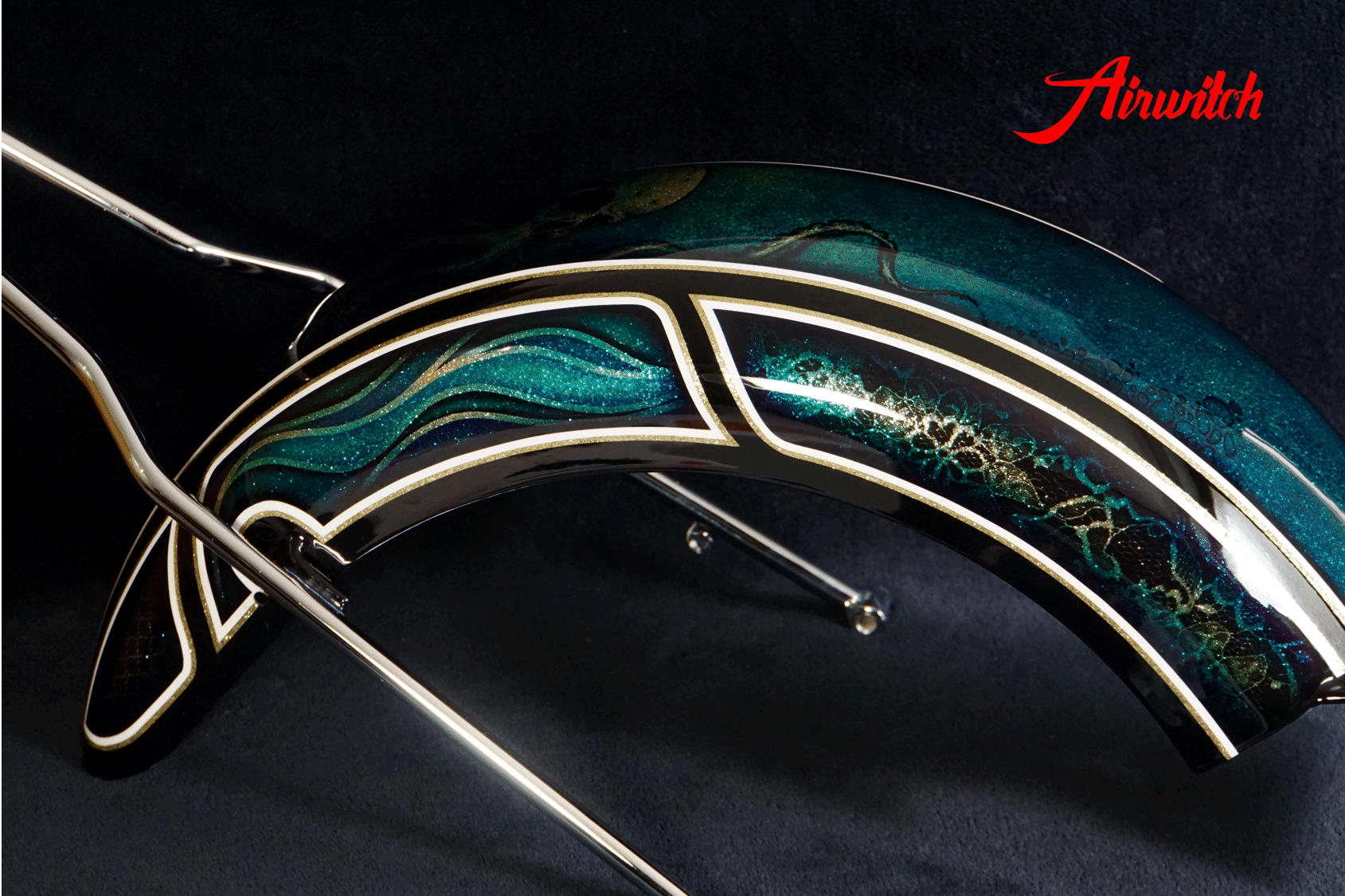 Custom Paint Fender Harley Davidson Softail Metalflake Lackierung oldschool frisco pattern blue gold black turquoise