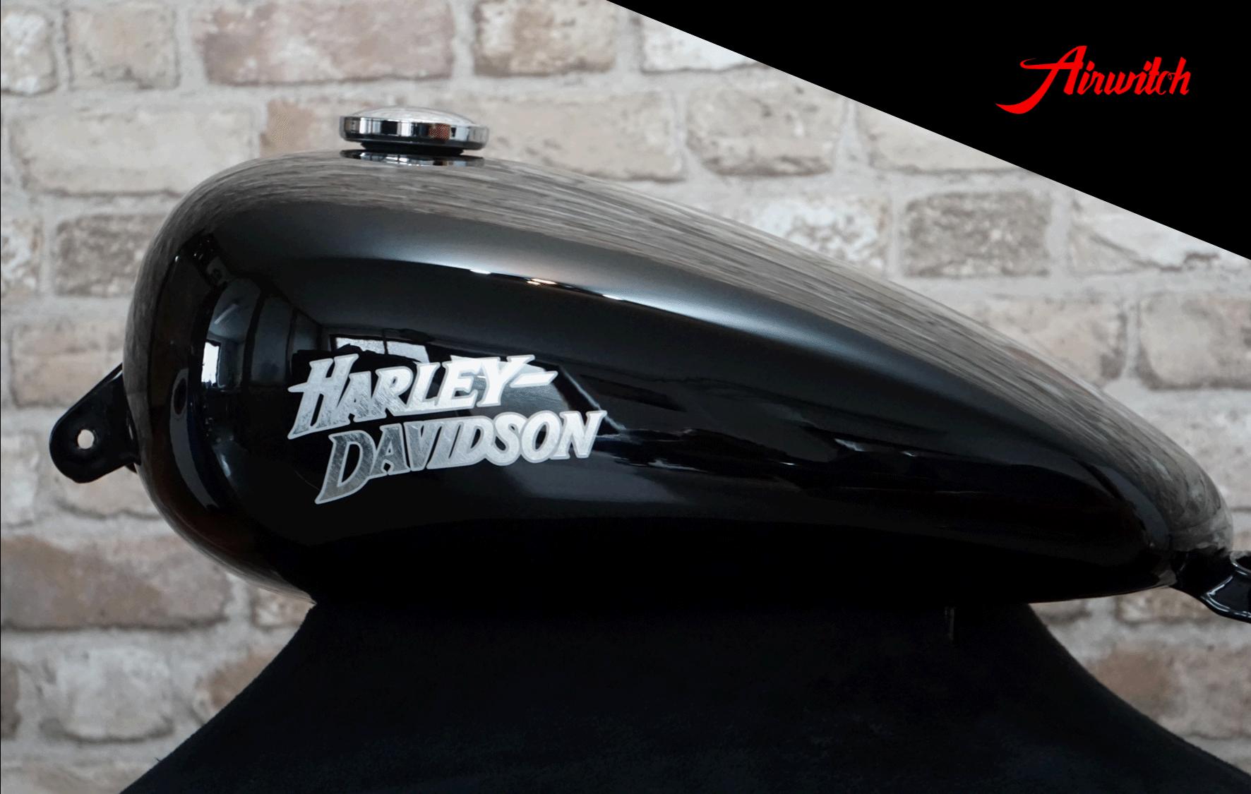 Custom Paint Harley Davidson Sportster Lackierung Timeless in Black & Silverleaf