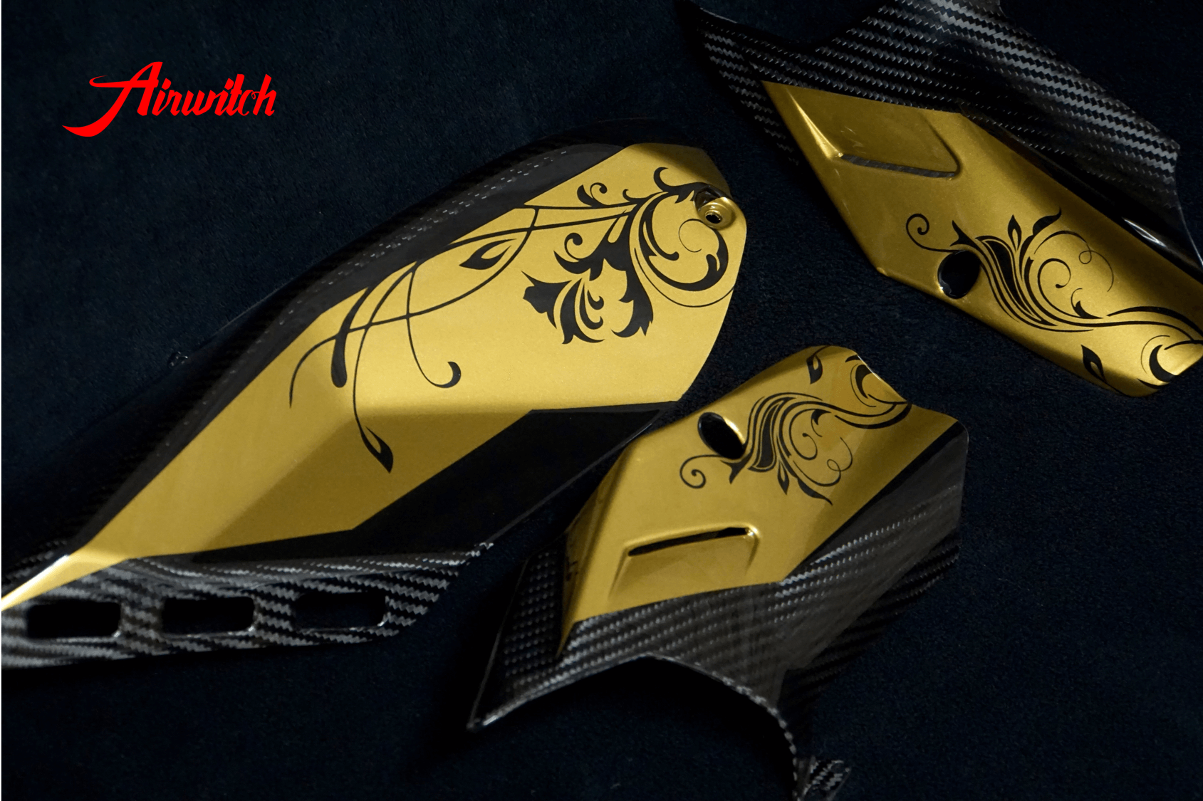Custom Paint Ducati Panigale V4 Carbon Parts Lackierung Gold & Black La catrina
