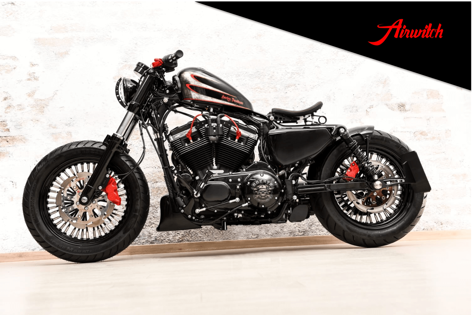 Custom Bike Paint Black Red Berlin Harley-Davidson Sportster 48 Scallops Lackierung Hardcore