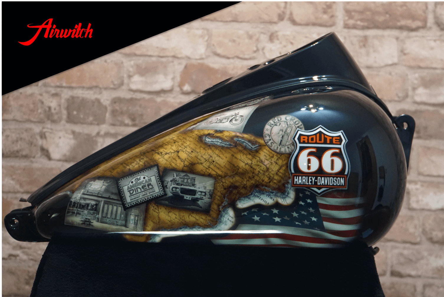 Custom Paint Harley-Davidson Wide Glide Route 66 Trip Old Map Airbrush Lackierung