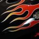 Custom Paint Harley-Davidson Dyna Red Flames on black Fireball Tank Lackierung